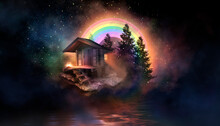 Night Fantasy Landscape With Abstract Island, Rainbow On The Water, Wooden House, Flashlight, Gravity. Multi-colored Smoke, Smog. Reflection Of Neon Light. Night View Of The Seascape. 3D