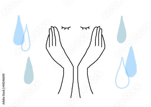 Fototapeta 両手を頬に当てて目をつぶる女性の手描き線画イラスト_涙背景