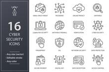Cyber Security Line Icons Set. Black Vector Illustration. Editable Stroke.
