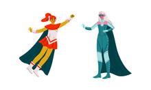 Superhero Woman Character Wearing Cloak Having Superpower Vector Set