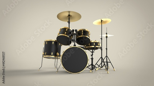 Fotografiet Front view of professional black drum kit with gold lines isolated on solid brow