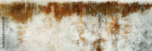 Porysowana, skorodowana tekstura, tło starego muru ogrodzeniowego. Kolory korozji w stonowanych odcieniach szarości. niebieskiego i brązu.. Panorama.