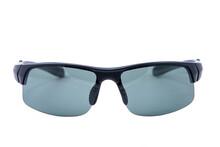 Side View. Fashion Sunglasses Black Frames On White Background.