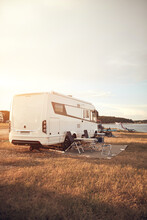 Camper Van House Camp Near The Ocean Sea Shore.