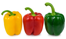 Three Juicy Peppers Healthy Organic Vegetables Red Yellow Green