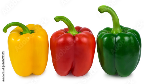 Fotografia three juicy peppers healthy organic vegetables red yellow green