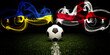 Football tournament. Football with national flags of Ukraine and England. Soccer ball and text. 3d rendering. Soccer match. Euro cup or world cup.