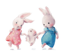 Cute Watercolor Hare's Family - Mom Dad And Baby