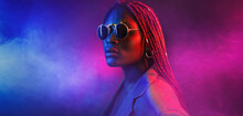 Colorful Neon Filtered Shot Of A Beautiful Young Afro Woman Posing In The Studio