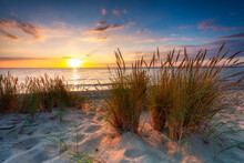 A Beautiful Sunset On The Beach Of The Sobieszewo Island At The Baltic Sea. Poland