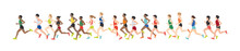 Men And Women Dressed In Sports Clothes Running Marathon Race. Participants Of Athletics Event Trying To Outrun Each Other. Flat Cartoon Characters Isolated On White Background. Vector Illustration.