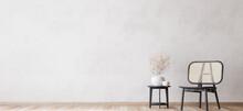 Living Room Design, Bright Wall Mockup, Panorama, 3d Render