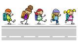 Fototapeta Na sufit - Kinder als Schüler auf dem Schulweg an Straße