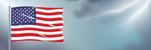 Worn USA Flag Waving On Cloudy Sky Background With Lightning. Disastrous US Flag Horizontal Banner With Copy Space.