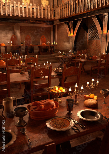 Fotografie, Obraz 3D Rendering Medieval Great Hall