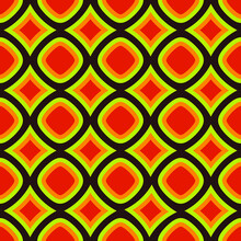 Citrus Circles And Rhombuses. Vector Red, Orange And Yellow Wallpaper Shapes. Seamless And Repeated.