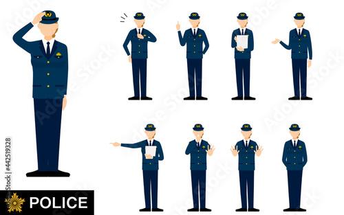Tela シニア女性警官のポーズセット9点、敬礼や制止、取り締まりなど