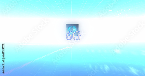 Image of 6g text, data processing and globe on screens over blue and white gradient background