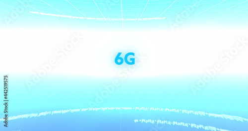 Image of 6g text, data processing and scope scanning on screens over blue and white background