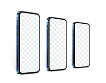 Realistic Smartphones In Row In Perspective View With Transparent Screen. Blue Mobile Phone Mockup Set For Presentate Your App Design Or Website. Isolated Cell Device Template, Vector 3d Illustration.