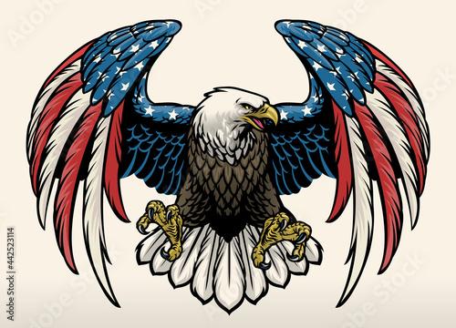 Canvas bald eagle with america flag color