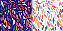 Abstract Set With Colorful Seamless Patterns, Doodle Cut Out Shapes, Modern Design