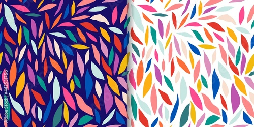 Leinwand Poster Abstract set with colorful seamless patterns, doodle cut out shapes, modern desi