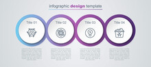 Set Line Biohazard Symbol, Atom, Light Bulb With Concept Of Idea And Infectious Waste. Business Infographic Template. Vector