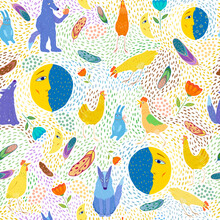 Seamless Pattern With Wolves, Chickens And Moons