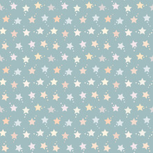 Seamless Pattern With Pastel Stars On Blue Green Background