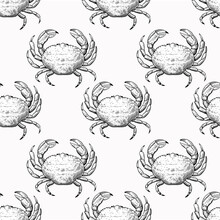 Vintage Seamless Pattern With Hand Drawn Crabs In Sketch Engraving Style. Sea Food Print For Textile And Wrapping Paper.