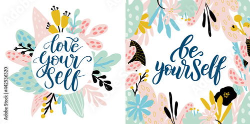 Fotomural Love yourself vector quote