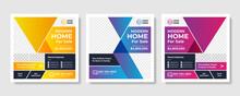 Real Estate Social Media Post Template, Editable Post Template Social Media Banners Design