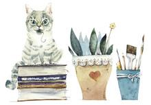 Watercolor Cartoon Kittens And Vintage Sewing Assesories.