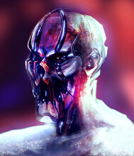 Artwork Illustration Of Cyber Zombie Robot Portrait, With Metal Plated Skull And Jaw On Blurred Background.