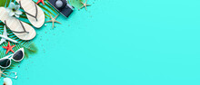 Summer Beach Accessories On Turquoise Blue Background 3D Rendering, 3D Illustration