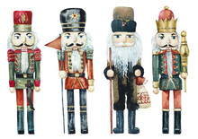 Christmas Toy. Nutcracker From Wood. Watercolor Hand Drawing Illustration