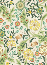 Floral Seamless Pattern With Big Flowers And Foliage On Light Background. Vector Illustration.