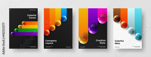 Photo Fresh realistic spheres annual report layout set