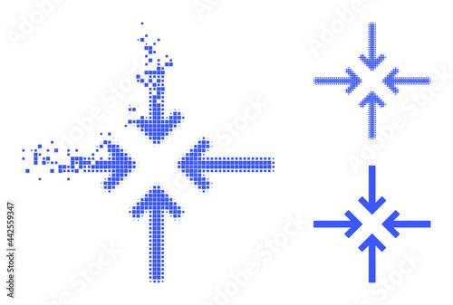 Erosion pixelated reduce arrows icon with halftone version Fototapet
