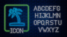 Glowing Neon Tropical Palm Tree Icon Isolated On Brick Wall Background. Coconut Palm Tree. Neon Light Alphabet. Vector