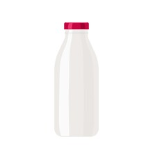 White Bottle With Red Lid. Template Of Plastic Or Glass Blank Milk Or Juice Bottle With Red Cap On White Background. Empty Jar