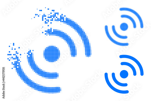 Wallpaper Mural Moving pixelated air cooler rotation icon with halftone version