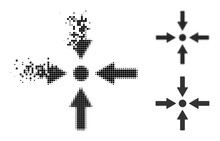 Moving Pixelated Meeting Point Pictogram With Halftone Version. Vector Wind Effect For Meeting Point Pictogram. Pixel Fragmentation Effect For Meeting Point Reproduces Movement Of Virtual Concepts.