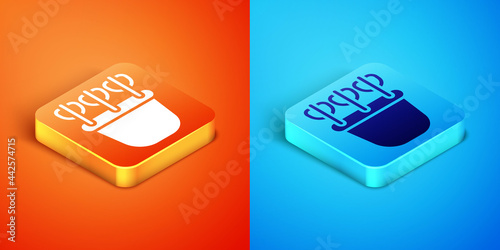 Canvas-taulu Isometric Quiver with arrows icon isolated on orange and blue background