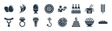 Food Filled Icons. Glyph Vector Icons Such As Loaf Of Bread, Five Birthday Cake, Fishing Tool, Burning Sausage On A Fork, Chinese Food Box, Eggs Sillhouettes, Waiter With A Roast Chicken, Hot