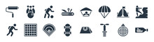 Free Time Filled Icons. Glyph Vector Icons Such As Ship In A Bottle, Pogo Stick, Skateboarding, Running Man, Camping, Sports, Hang Glider, Bowling Sign Isolated On White Background.