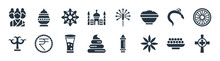 India Filled Icons. Glyph Vector Icons Such As Gnostic, Anise, Dung, Parvati, Kali, Rangoli, Sparkler, Kumbh Kalash Sign Isolated On White Background.