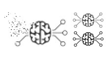 Fragmented Dotted Brain Circuit Icon With Halftone Version. Vector Wind Effect For Brain Circuit Icon. Pixelated Disintegrating Effect For Brain Circuit Shows Speed Of Virtual Abstractions.