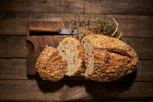 Aromatic Homemade Bread With Oatmeal Flakes